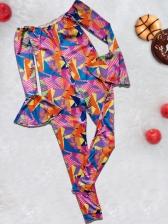 Colorful Geometric Print Off The Shoulder Jumpsuits