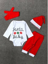 Casual Letter Red Baby Christmas Sets