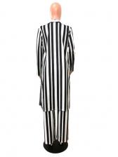 Vertical Stripes Black 2 Piece Long Coat Sets