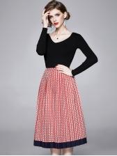 Black Slim Knit Top With Large Hem Printed Skirt