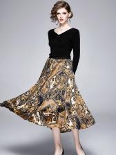Pure Color V Neck Top With Retro Printed Midi Skirt