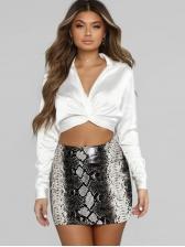 Hot Sale Snake Print Leather Skirt