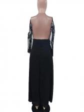 Deep V Neck High Split Hem Long Sleeve Evening Dress