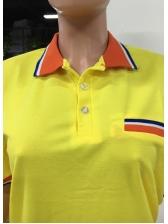 Cheap Color Block Polo Neck Men T-Shirt