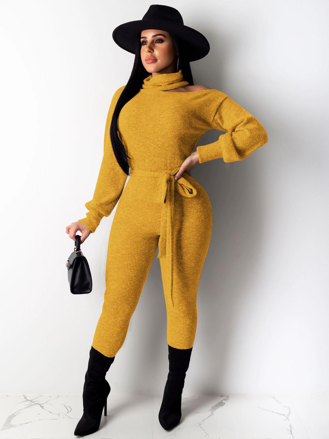 Pure Color Cutout Shoulder Knit Fitted Jumpsuit