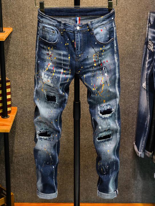 Colorful Print Dots Men Straight Leg Jeans