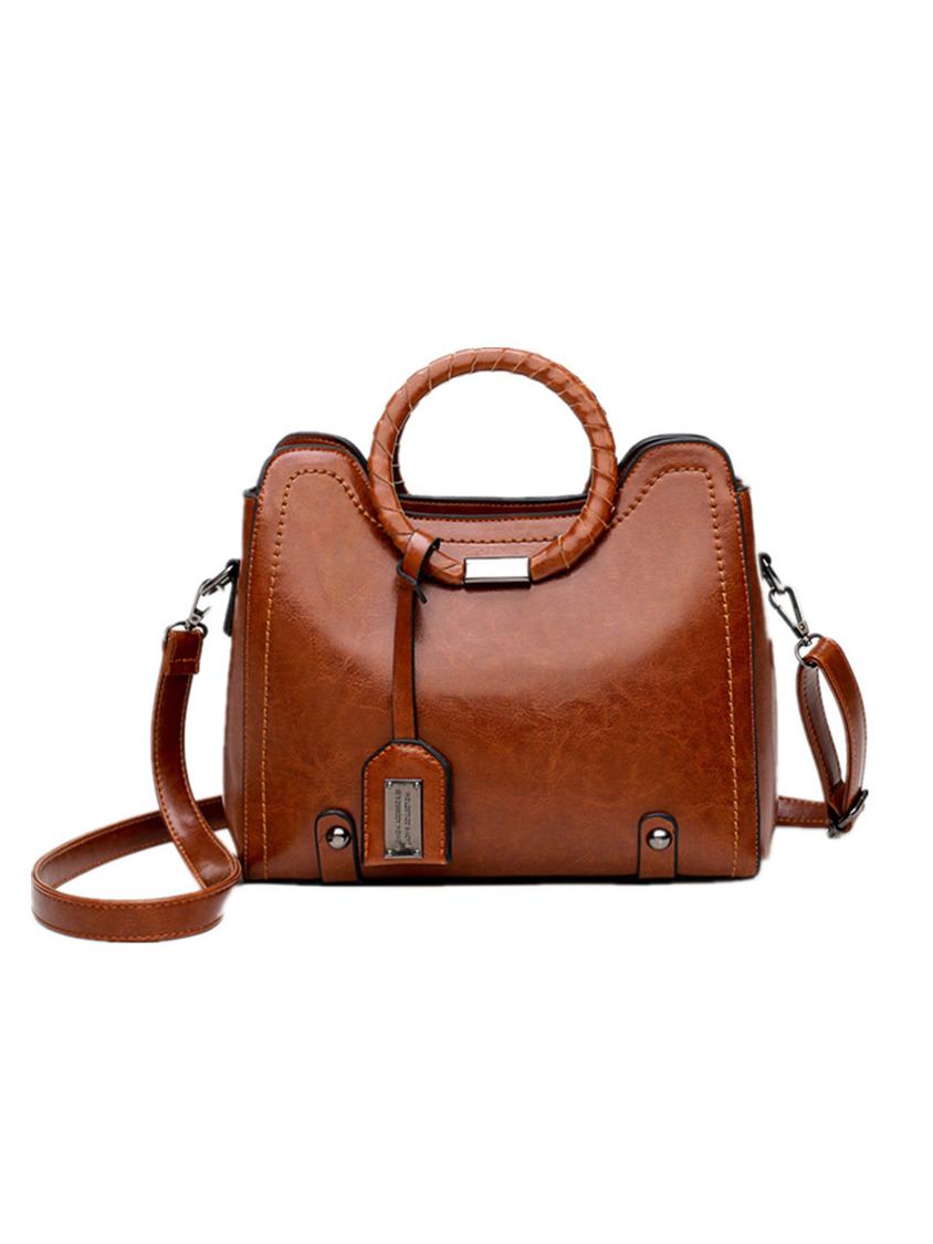 OL Style Round Handle Ladies Handbags With Belt