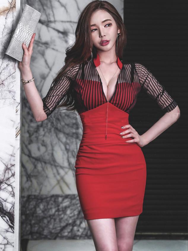 Deep v Gauze Patchwork Striped Ladies Dress
