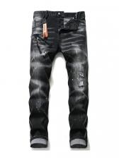 Elastic Slim Fit Men Straight Leg Jeans