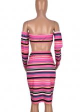 Striped Off Shoulder Crop Top And Skirt Set