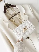 Diamond Pattern Metal Hasp Chain Shoulder Bag