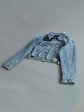 Washed Loose Ripped Cropped Denim Jacket
