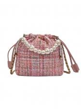 Beading Handle Drawstring Woolen Bucket Shoulder Bag