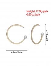 Simple Design C Shape Stud Pearl Earring