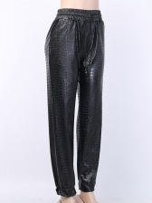 Crocodile Embossed Black Leather Jogger Pants