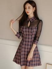 Tulle Patchwork Keyhole Plaid Long Sleeve Dress