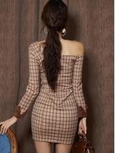 Chic Open Shoulder Plaid Dresses For Women