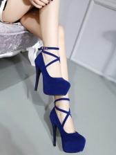 Ankle Strap Round Toe Platform Heels