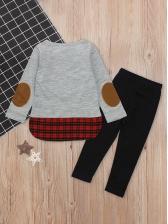 Cartoon Elk Plaid Girls Clothing Set For Christmas