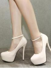 Solid Pu Round Toe Platform Stiletto Heels