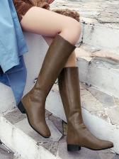 Slip On Square Toe Mid Calf Boots