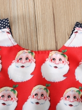 Crew Neck Father Christmas Print Dots Rompers For Baby