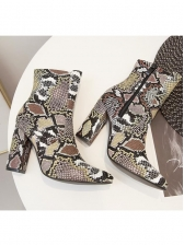 Chunky Heel Pointed Snakeskin Boots