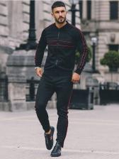 Sporty Casual Zip Up Men Activewear Sets