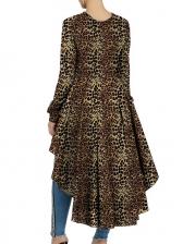 Asymmetrical High Low Hem Camouflage Long T Shirt
