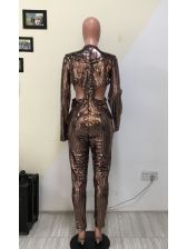 V Neck Fitted Sequin Long Sleeve Jumpsuit