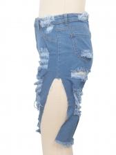 Irregular Design Half Ripped Jeans For Women