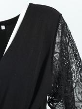 Elegant Tie-Wrap Lace Panel Black Long Sleeve Dress