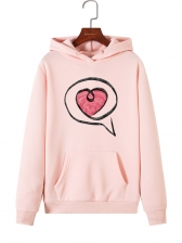 Heart Pattern Casual Hoodies For Women