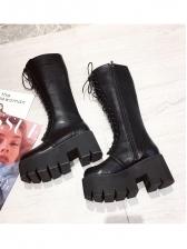 Trendy Lace Up Platform Mid Calf Boots