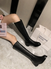 Fashion Solid Color Round Toe Mid Calf Boots