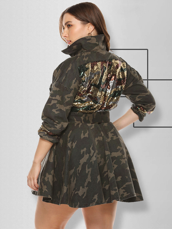 Camouflage Sequined Plus Size Dress