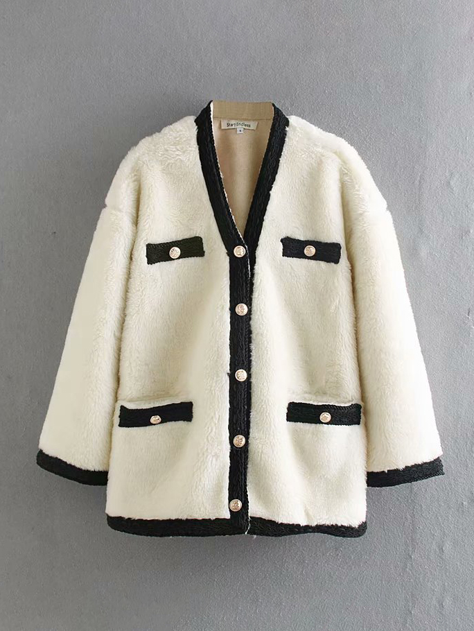 Boutique Single-Breasted Contrast Color Faux Fur Coat