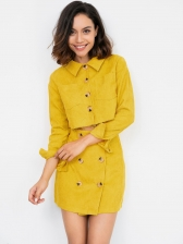 Corduroy Pure Color Single Breasted Short Coats