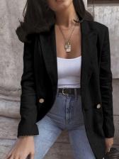 Casual Solid Long Sleeve Ladies Blazer