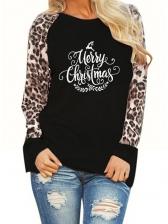 Leopard Patchwork Letter t Shirt