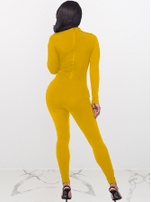 Hot Sale Solid Long Sleeve Skinny Jumpsuit