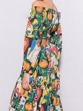 Boutique Vintage Print Crop Top And Skirt Set