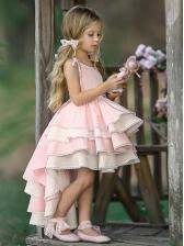 Backless Contrast Color Pink Flower Dress For Girls