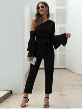 Inclined Shoulder Flare Sleeve All Black Jumpsuits