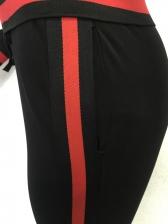 Contrast Color Zip Up Two Piece Pants Set