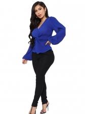 Front Twist Blue T Shirt For Women