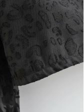 Leopard Pattern StringySelvedge See Through Blouse