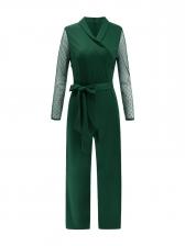 Pure Color Tie-Wrap Straight Ladies Jumpsuits