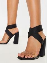 Transparent PVC Crossed Belt Ladies Chunky Sandals