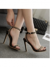 Metal Chain Decorated Ankle Buckle Ladies Sandals